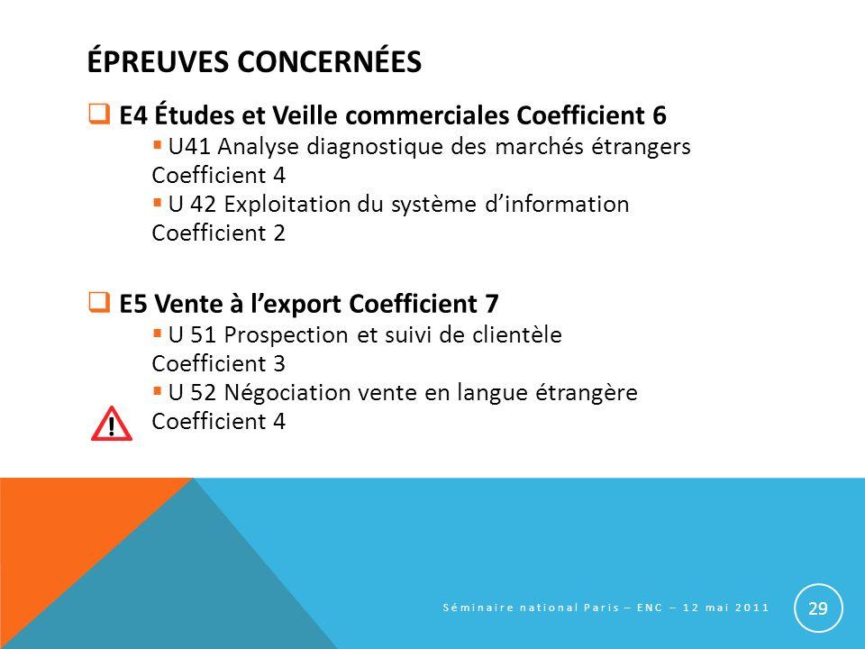 ÉPREUVES CONCERNÉES E4 Études et Veille commerciales Coefficient 6