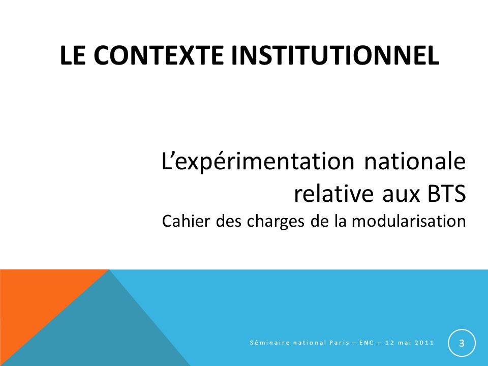 Le contexte institutionnel