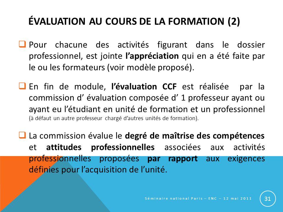 ÉVALUATION AU COURS DE LA FORMATION (2)