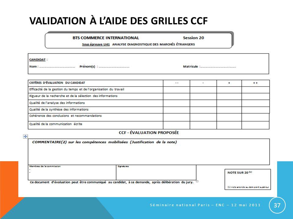 VALIDATION À L'AIDE DES GRILLES CCF