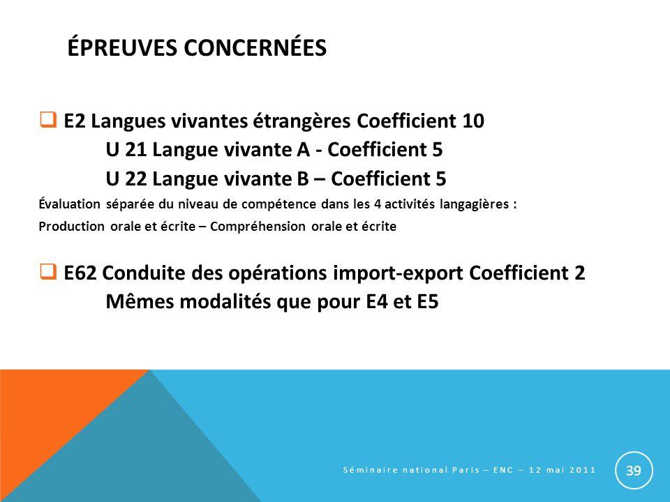 ÉPREUVES CONCERNÉES E2 Langues vivantes étrangères Coefficient 10