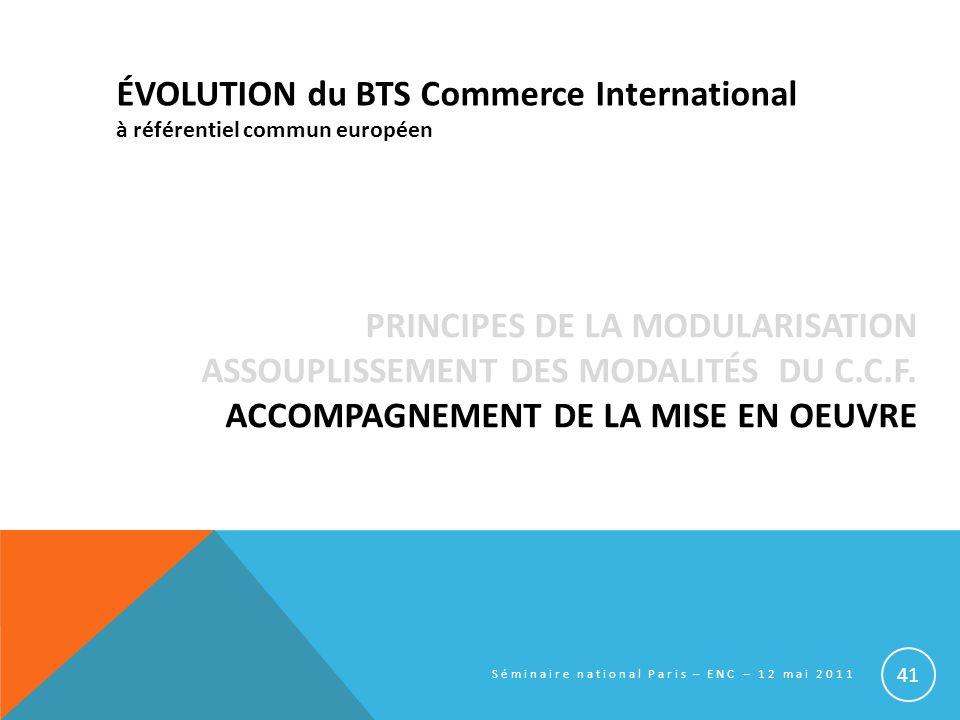 ÉVOLUTION du BTS Commerce International à référentiel commun européen
