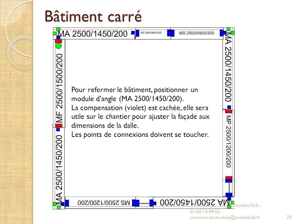 Bâtiment carré Pour refermer le bâtiment, positionner un module d'angle (MA 2500/1450/200).