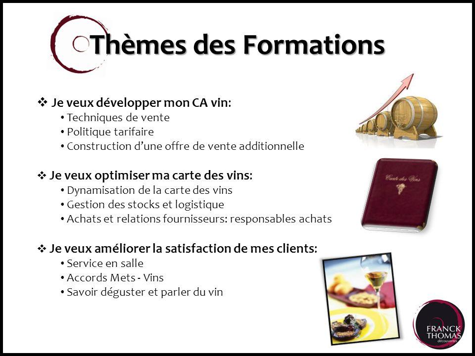 Thèmes des Formations Je veux développer mon CA vin: