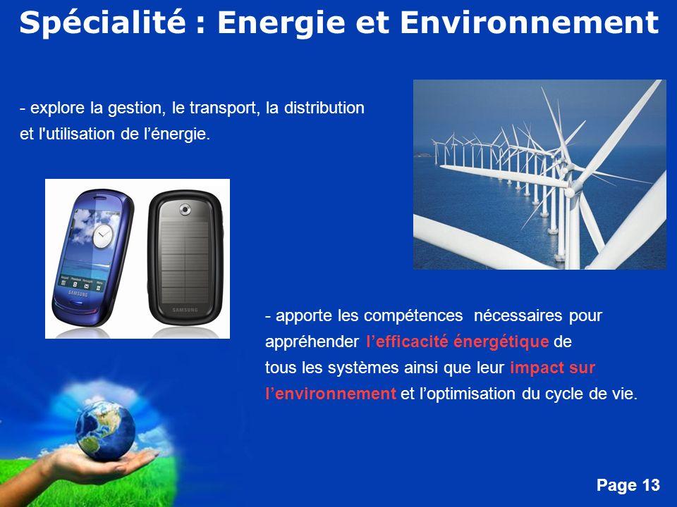 Spécialité : Energie et Environnement