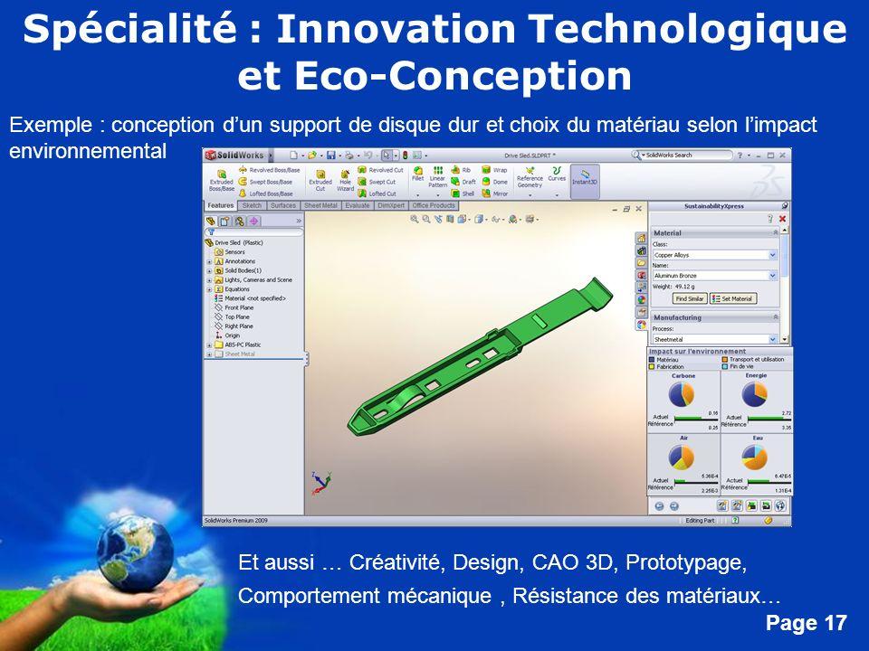 Spécialité : Innovation Technologique et Eco-Conception