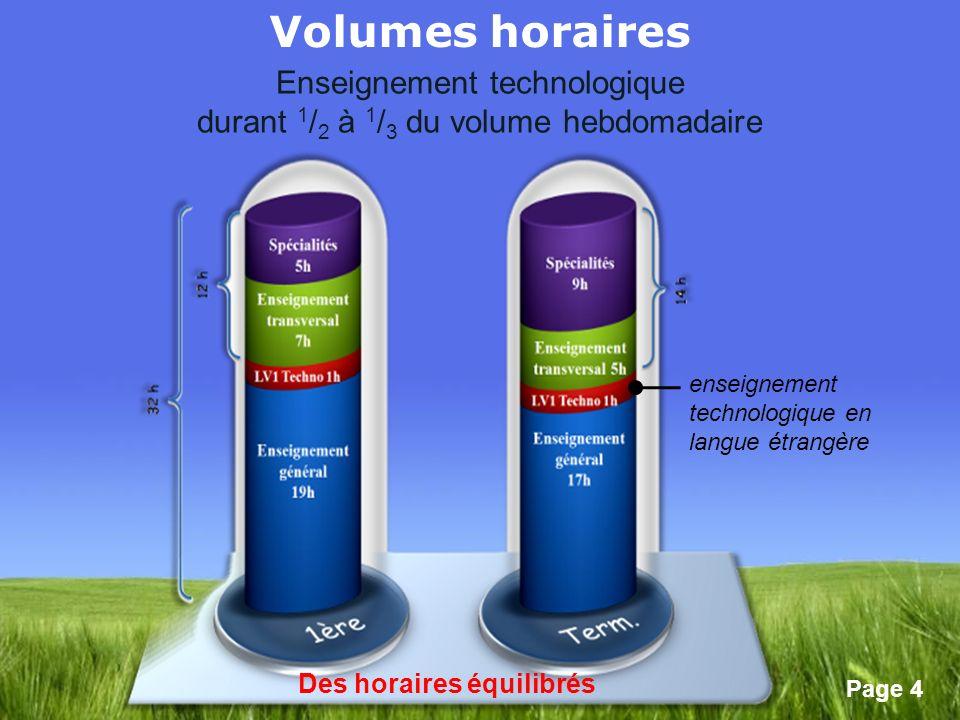 Volumes horaires Enseignement technologique