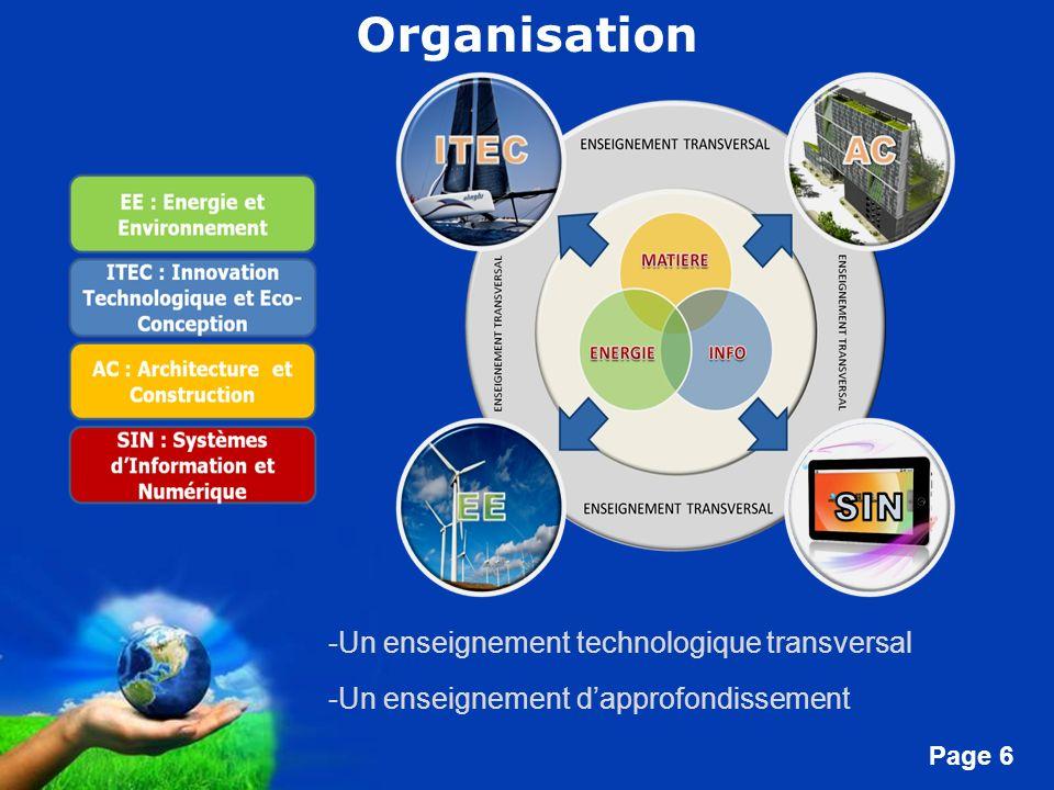 Organisation Un enseignement technologique transversal