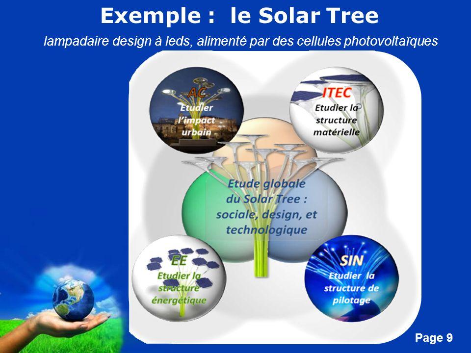 Exemple : le Solar Tree lampadaire design à leds, alimenté par des cellules photovoltaïques. Exemple d'illustration des contenus : le solar tree.