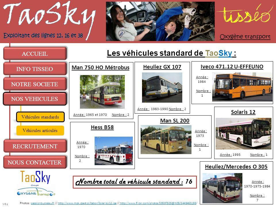 Les véhicules standard de TaoSky :