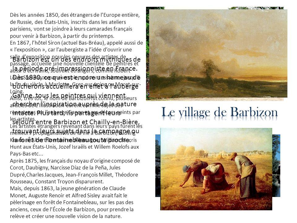 Dès les années 1850, des étrangers de l'Europe entière, de Russie, des États-Unis, inscrits dans les ateliers parisiens, vont se joindre à leurs camarades français pour venir à Barbizon, à partir du printemps.