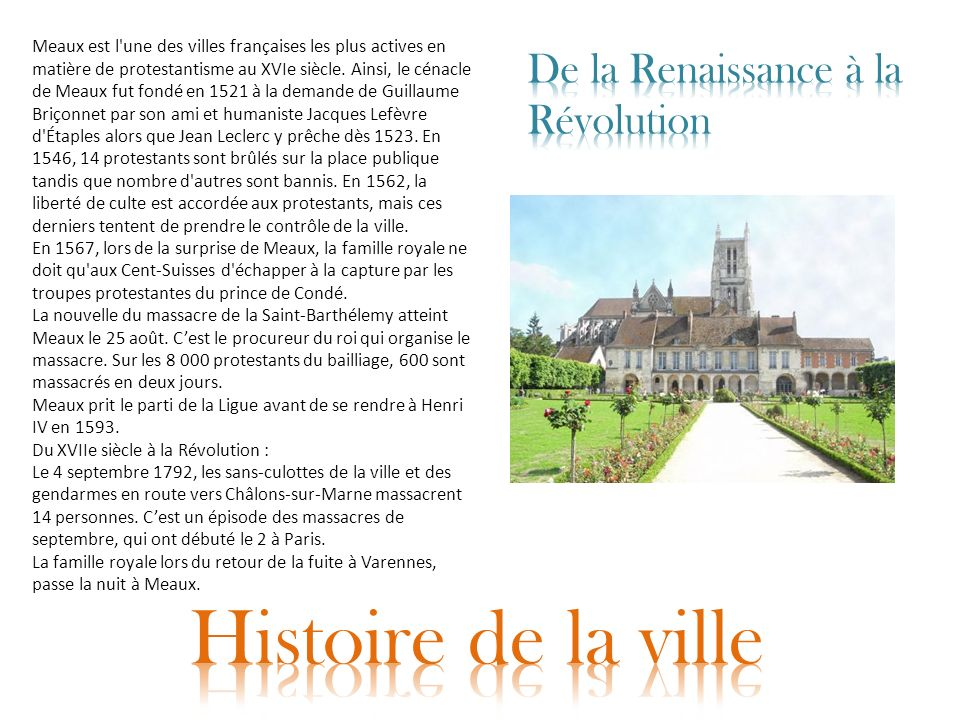 Histoire de la ville De la Renaissance à la Révolution