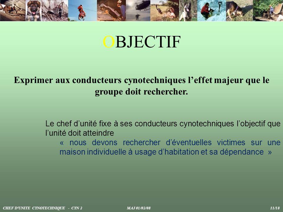 OBJECTIF Exprimer aux conducteurs cynotechniques l'effet majeur que le groupe doit rechercher.