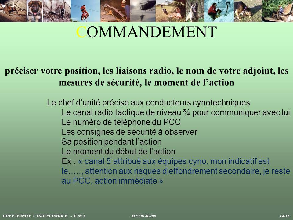 COMMANDEMENT préciser votre position, les liaisons radio, le nom de votre adjoint, les mesures de sécurité, le moment de l'action.