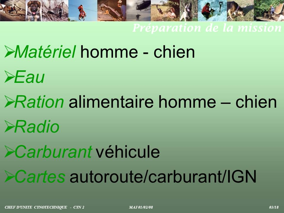 Ration alimentaire homme – chien Radio Carburant véhicule