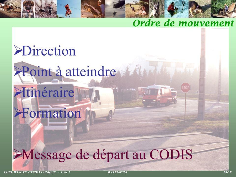 Message de départ au CODIS