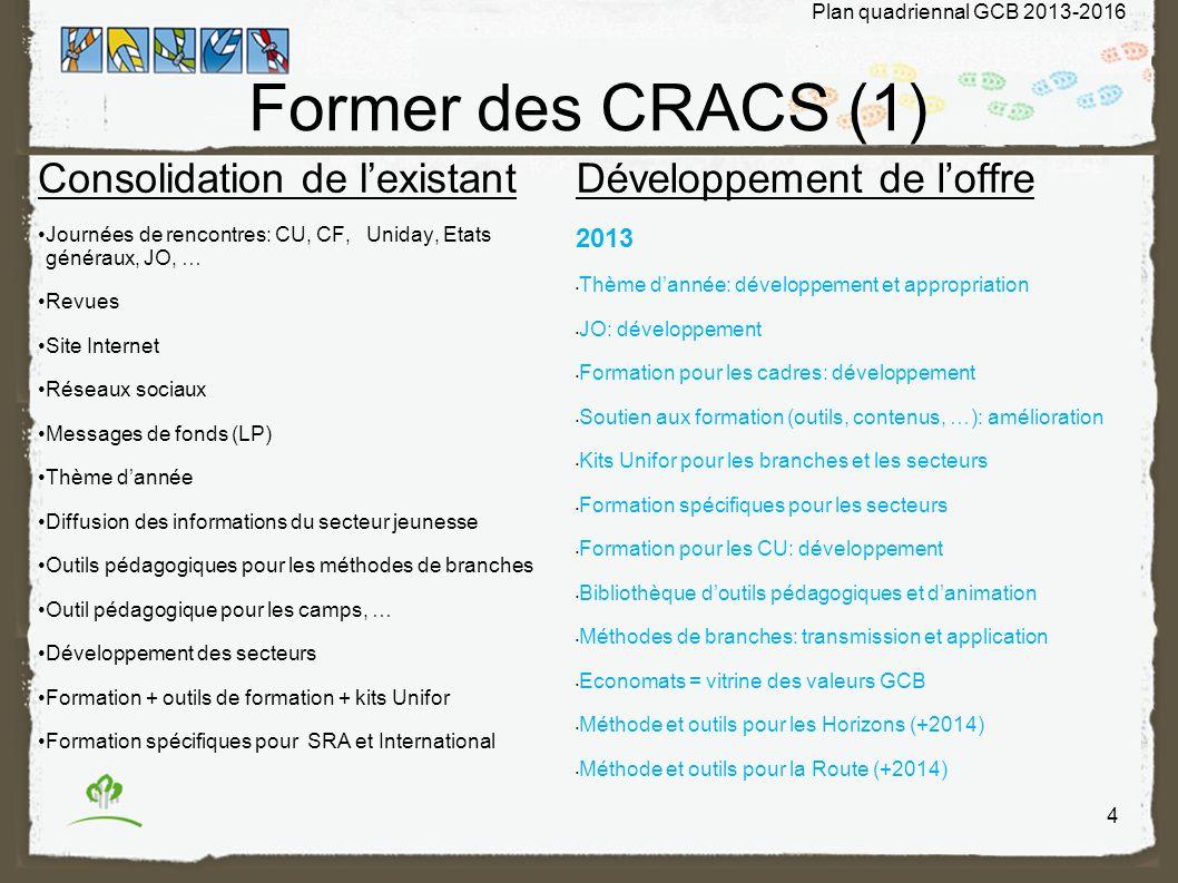 Former des CRACS (1) Consolidation de l'existant