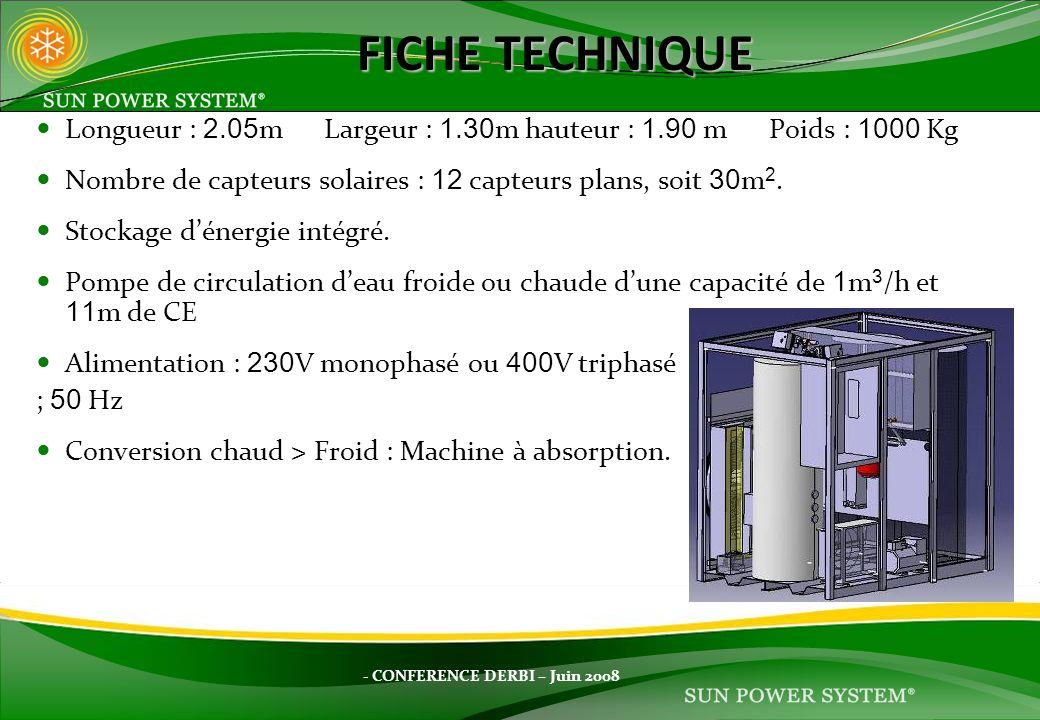 FICHE TECHNIQUE Longueur : 2.05m Largeur : 1.30m hauteur : 1.90 m Poids : 1000 Kg. Nombre de capteurs solaires : 12 capteurs plans, soit 30m2.