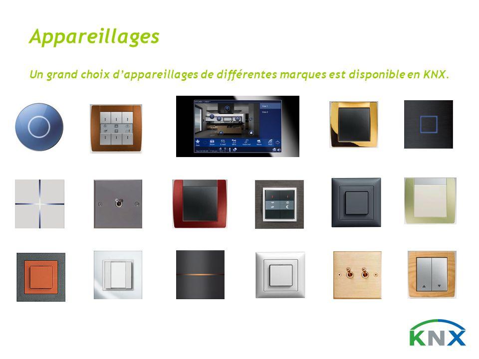 Appareillages Un grand choix d'appareillages de différentes marques est disponible en KNX.