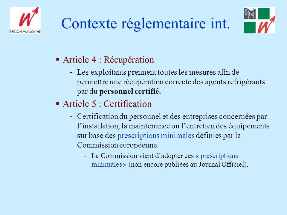 Contexte réglementaire int.