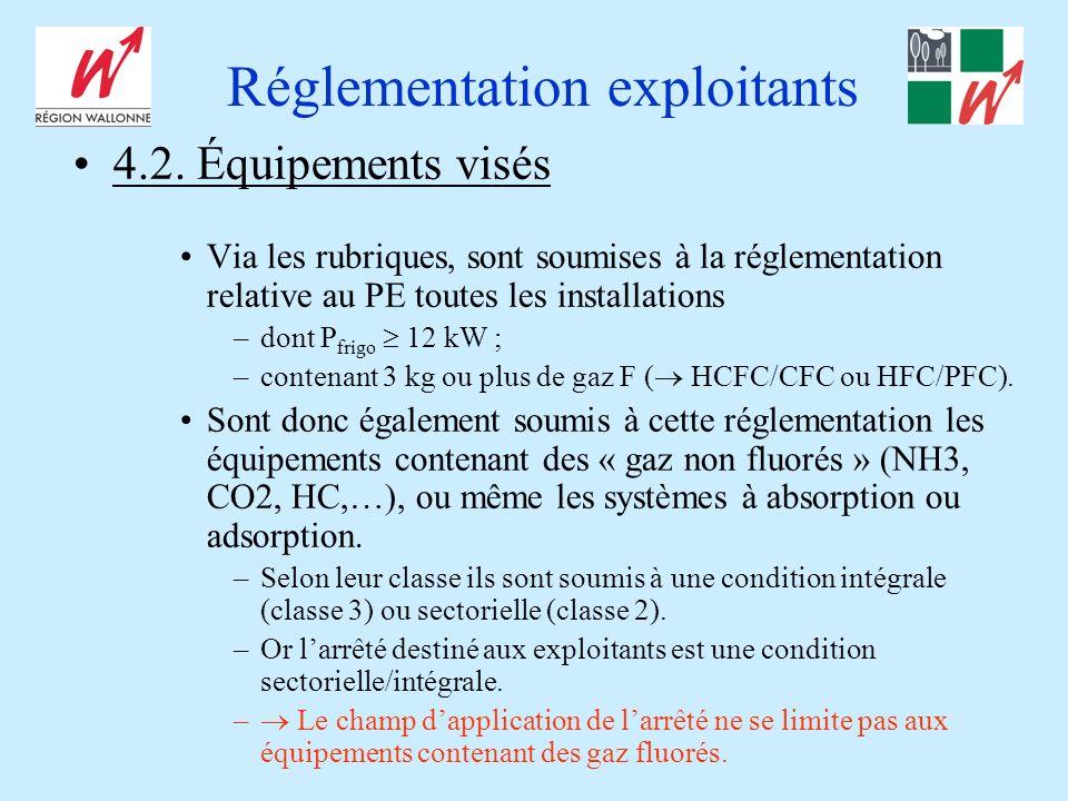 Réglementation exploitants