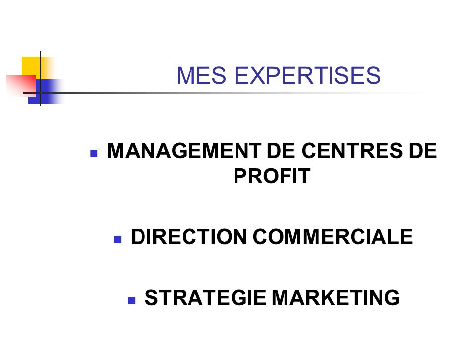 MANAGEMENT DE CENTRES DE PROFIT DIRECTION COMMERCIALE