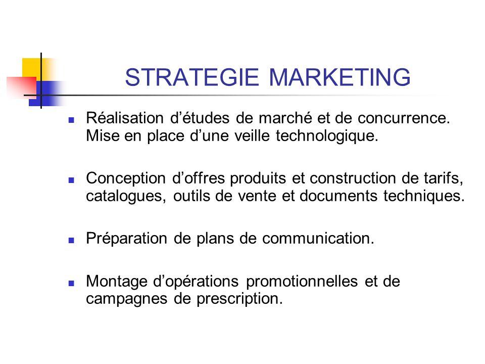 STRATEGIE MARKETING Réalisation d'études de marché et de concurrence. Mise en place d'une veille technologique.