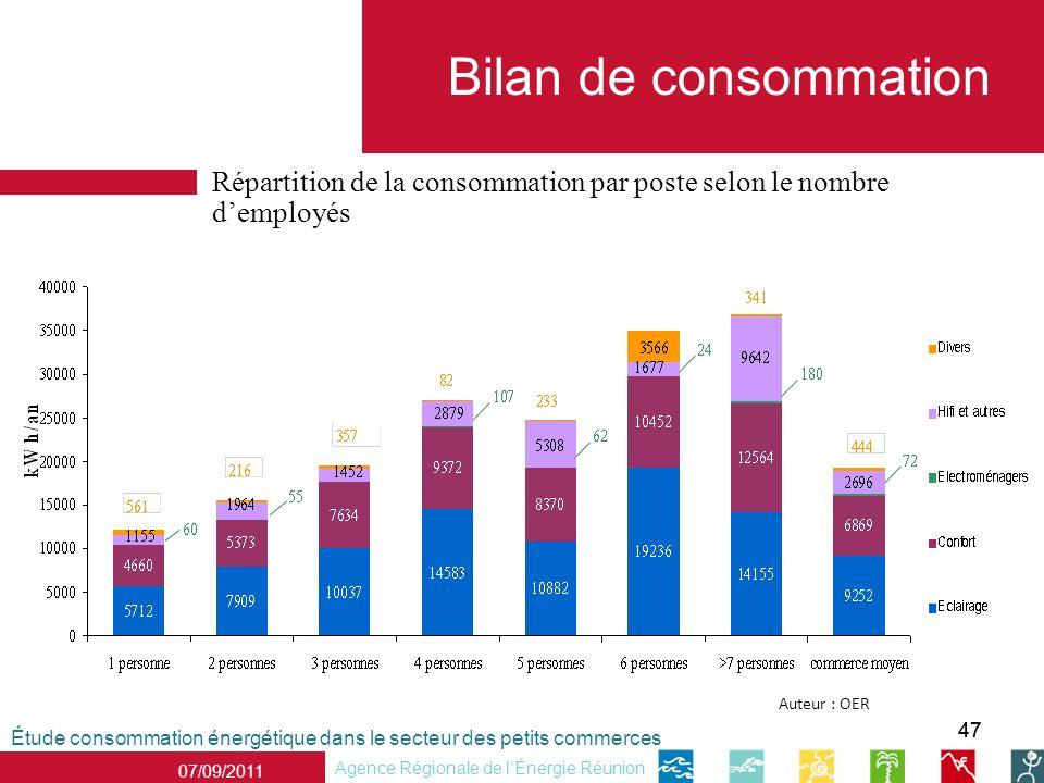 Bilan de consommation Répartition de la consommation par poste selon le nombre d'employés. 3566. Auteur : OER.