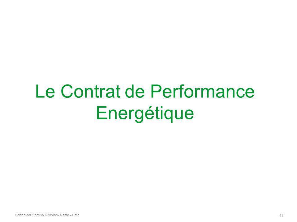 Le Contrat de Performance Energétique