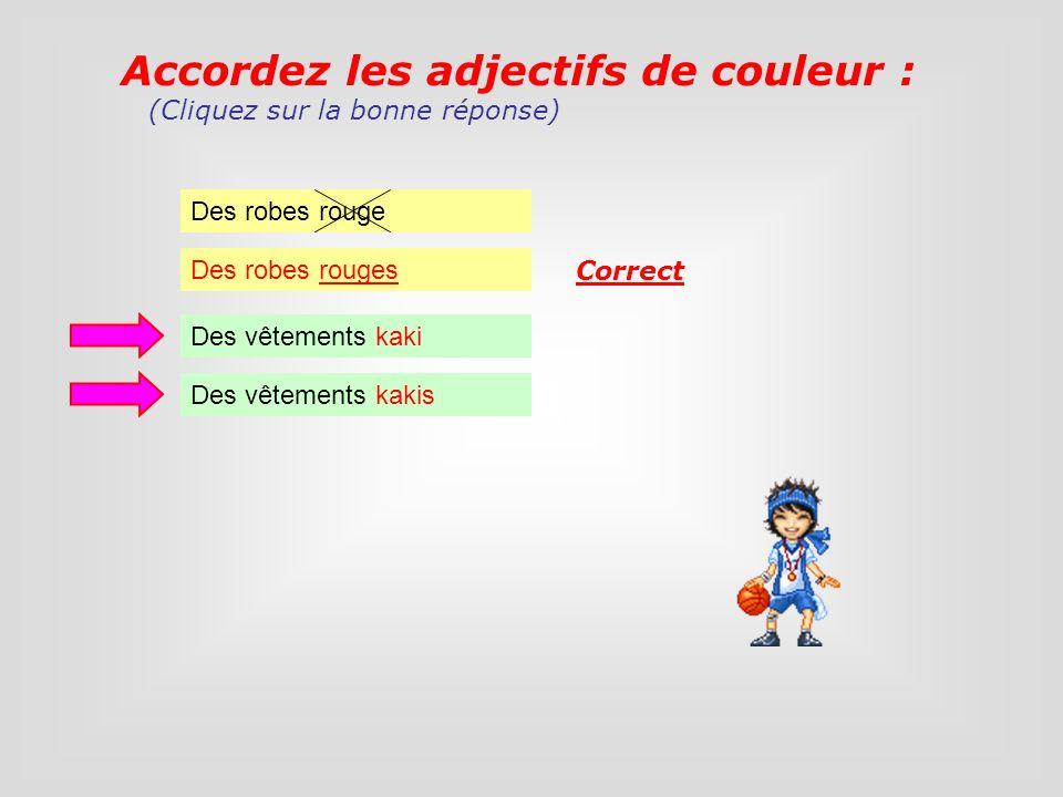 Accordez les adjectifs de couleur :