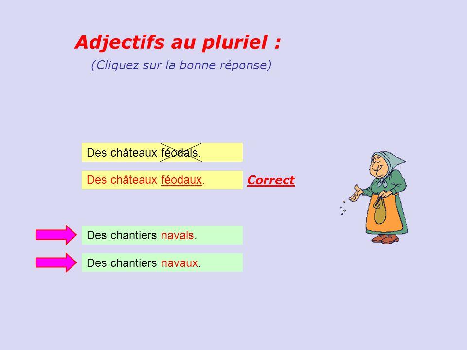 Adjectifs au pluriel : (Cliquez sur la bonne réponse)