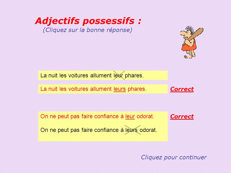Adjectifs possessifs :