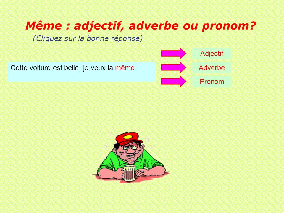 Même : adjectif, adverbe ou pronom