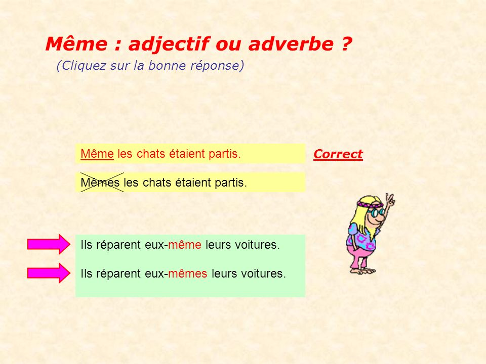 Même : adjectif ou adverbe