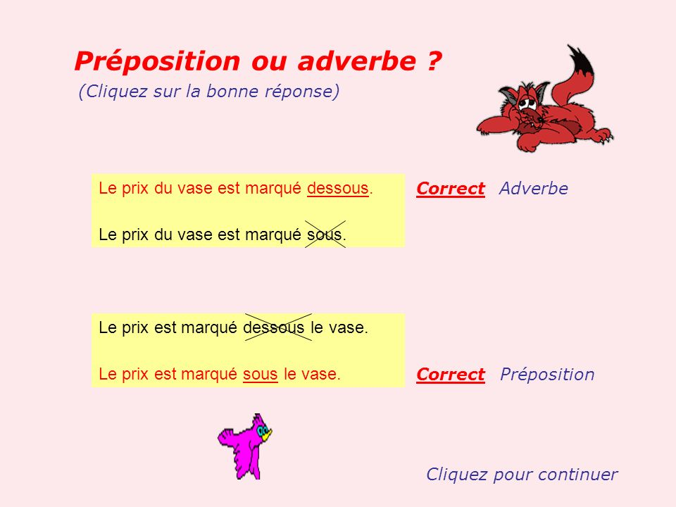 Préposition ou adverbe