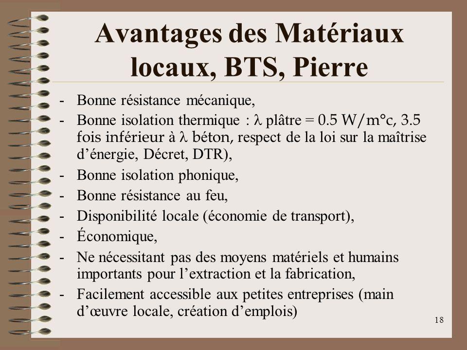 Avantages des Matériaux locaux, BTS, Pierre