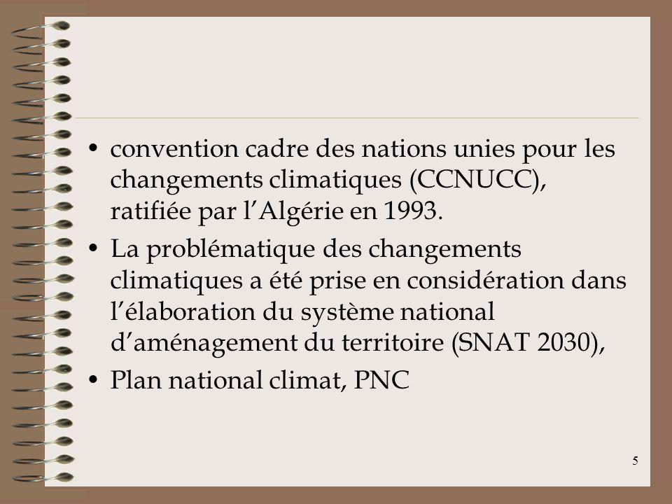convention cadre des nations unies pour les changements climatiques (CCNUCC), ratifiée par l'Algérie en 1993.