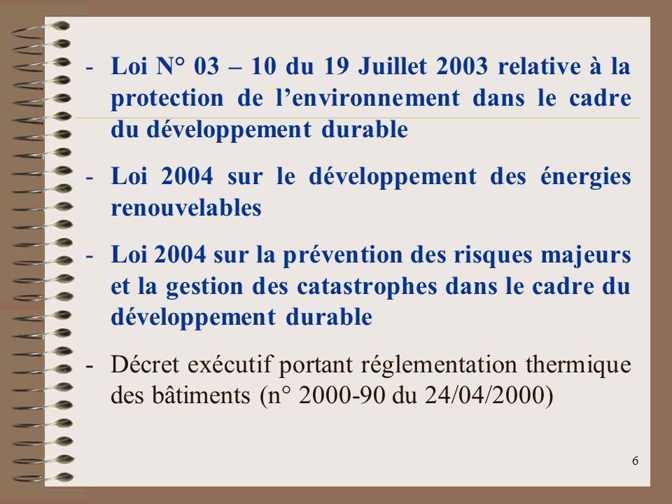 Loi N° 03 – 10 du 19 Juillet 2003 relative à la protection de l'environnement dans le cadre du développement durable