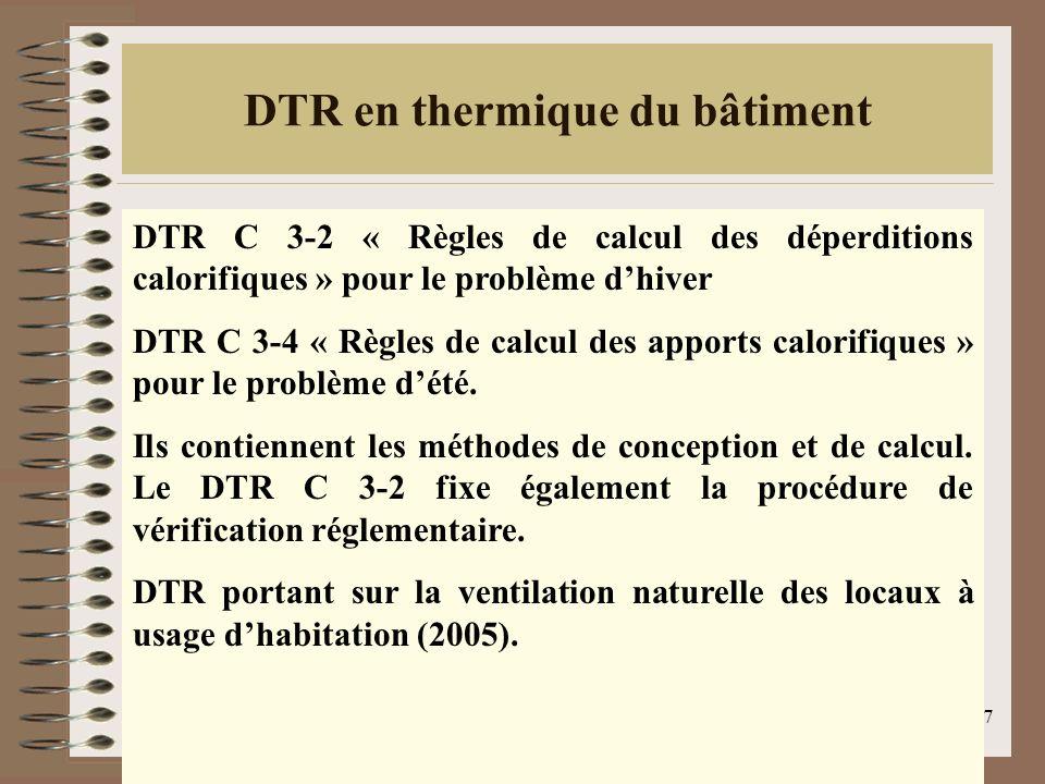 DTR en thermique du bâtiment