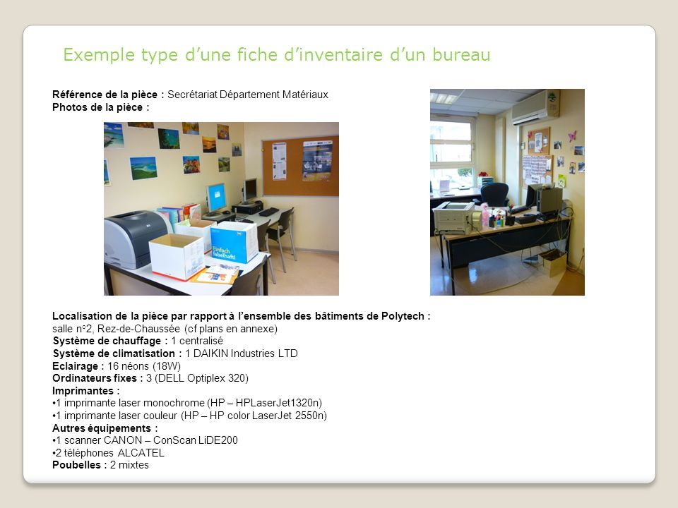 Exemple type d'une fiche d'inventaire d'un bureau
