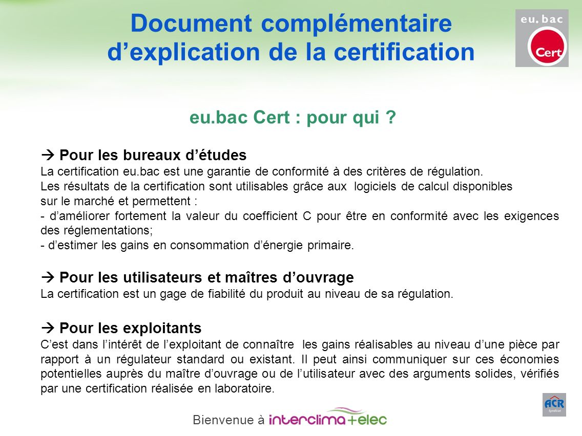 Document complémentaire d'explication de la certification