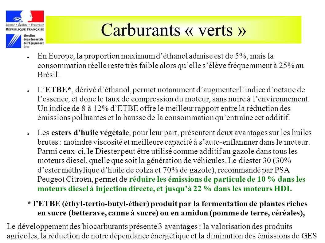 Carburants « verts »