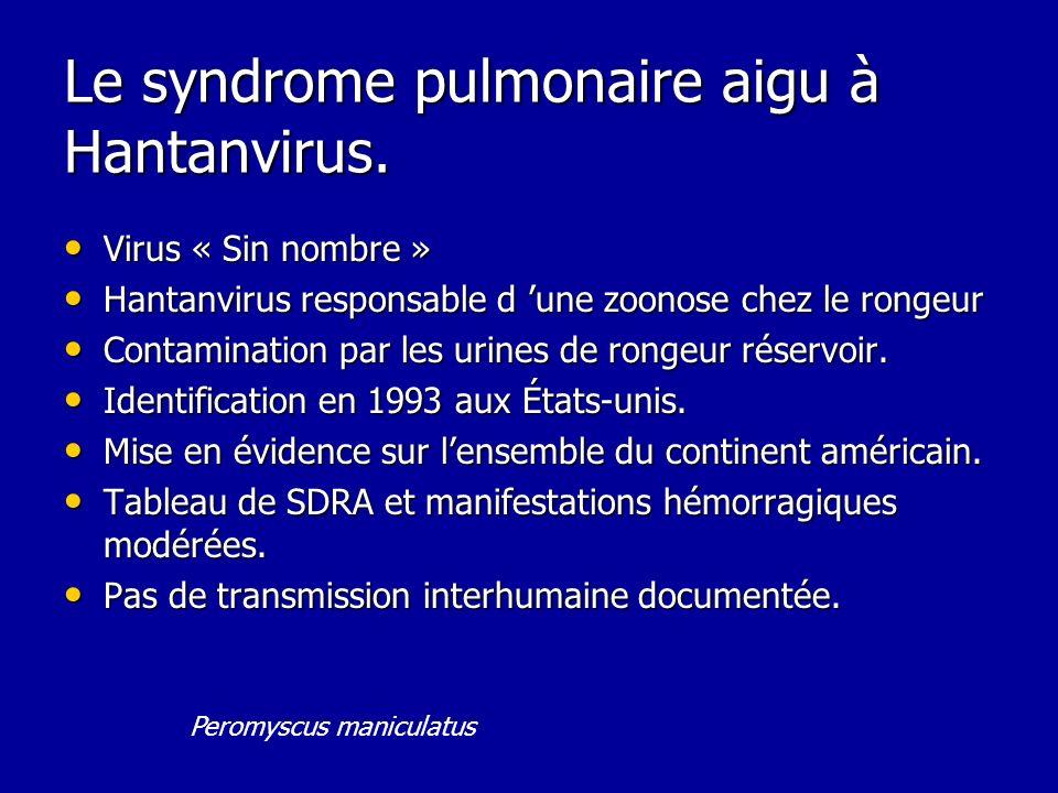 Le syndrome pulmonaire aigu à Hantanvirus.