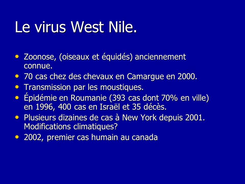 Le virus West Nile. Zoonose, (oiseaux et équidés) anciennement connue.