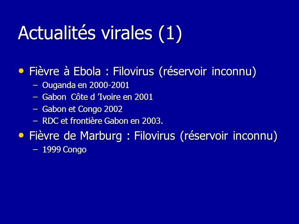 Actualités virales (1) Fièvre à Ebola : Filovirus (réservoir inconnu)