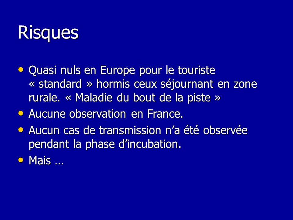 Risques Quasi nuls en Europe pour le touriste « standard » hormis ceux séjournant en zone rurale. « Maladie du bout de la piste »