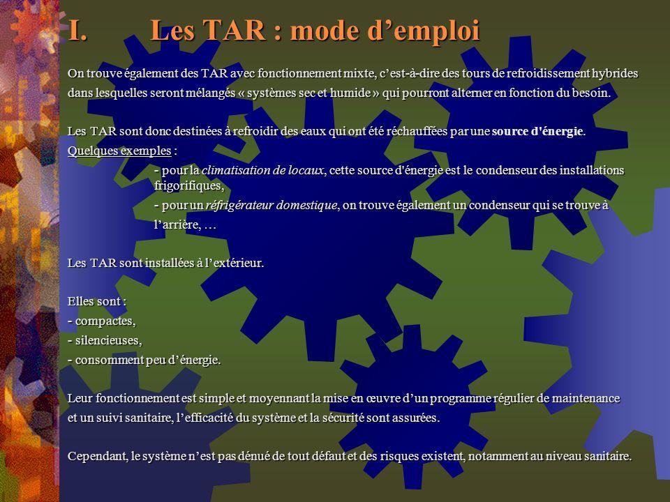 Les TAR : mode d'emploi On trouve également des TAR avec fonctionnement mixte, c'est-à-dire des tours de refroidissement hybrides.