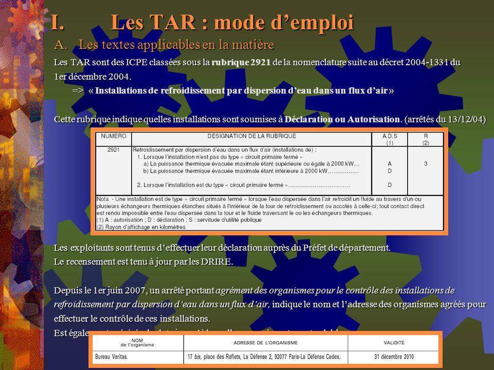 Les TAR : mode d'emploi Les textes applicables en la matière