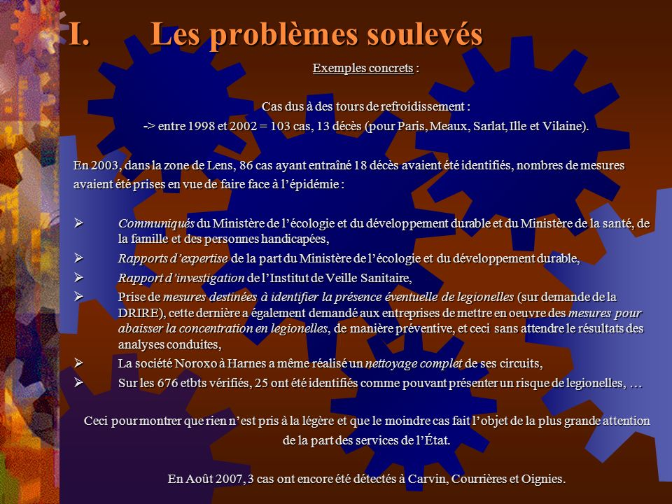 Les problèmes soulevés
