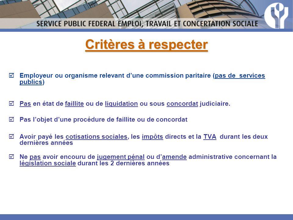 Critères à respecter Employeur ou organisme relevant d'une commission paritaire (pas de services publics)